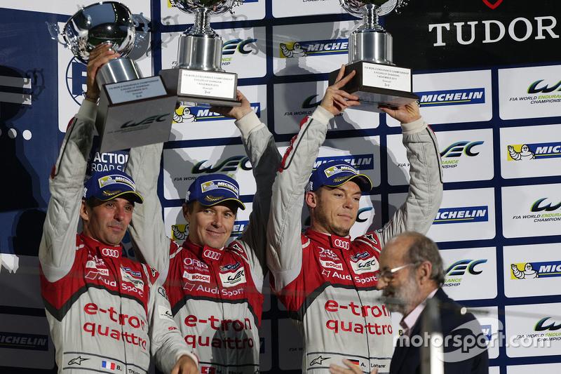 Podium: third place Benoît Tréluyer, Marcel Fässler, André Lotterer