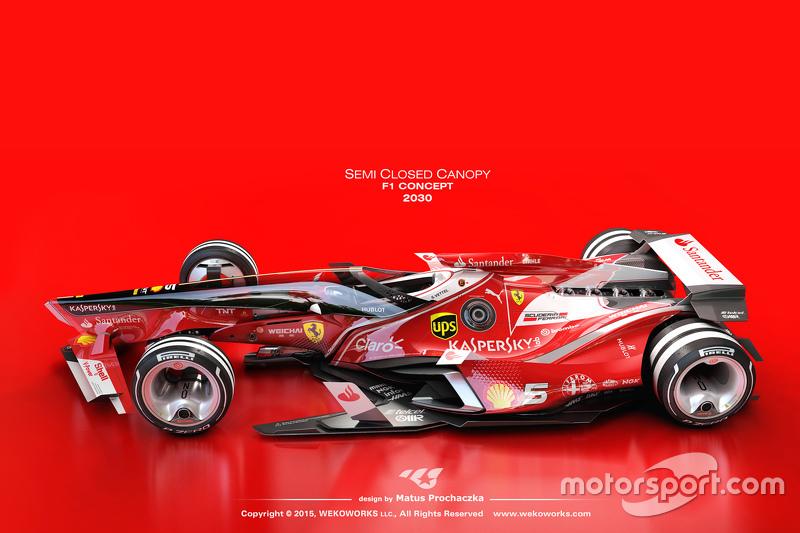 Vue d'un designer sur une possible Formule 1 futuriste avec un cockpit semi-fermé