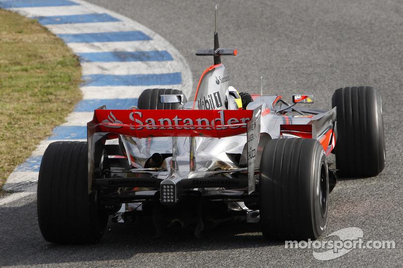 Pedro de la Rosa tests the new McLaren Mercedes MP4-23