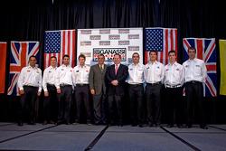Chip Ganassi Racing with Felix Sabates: Chip Ganassi and  Felix Sabate pose with their drivers