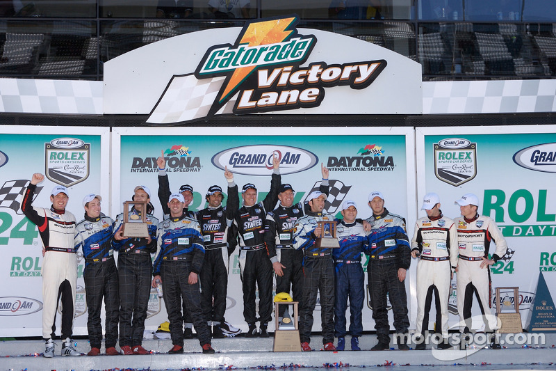 GT podium: class winners Nick Ham, David Haskell, Raphael Matos and Sylvain Tremblay, second place Ted Ballou, Andy Lally, Bryce Miller and Richard Westbrook, third place Emanuel Collard, Romain Dumas, Tim George Jr., Spencer Pumpelly and Bryan Sellers