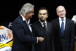 Flavio Briatore, Managing Director, Renault F1, Carlos Ghosn, Chairman of Renault, and Bernard Rey,