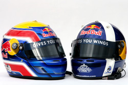 Helmets of David Coulthard, Red Bull Racing and Mark Webber, Red Bull Racing