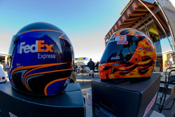 Teammate Helmets, Denny Hamlin and Tony Stewart, in the garage