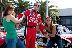 Carl Edwards with some of his fans at the Office Depot Harlequin event at Daytona Experience