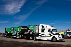 The Scott's team hauler makes its' way into the Las Vegas Motor Speedway
