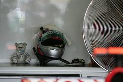 A small teddy bear at the garage of Takuma Sato, Super Aguri F1