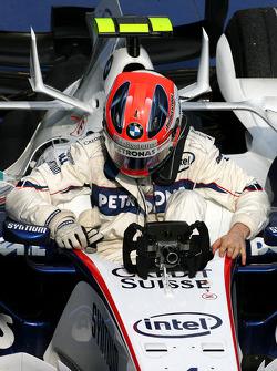 Second place Robert Kubica celebrates