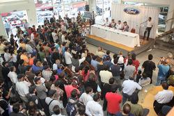 Huge crowds gathered at the local Ford dealer near Cordoba, to welcome the BP Ford Abu Dhabi World Rally team drivers Mikko Hirvonen and Jari-Matti Latvala