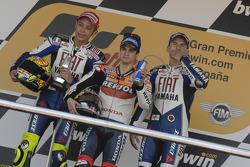 Podium : Dani Pedrosa, avec Valentino Rossi et Jorge Lorenzo