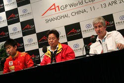 Press conference: Congfu Cheng, driver of A1 Team China, Liu Yu, Seat holder of A1 Team China, and David Claire
