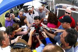 Tony Stewart speaks to the media about the rumors of his leaving Joe Gibbs Racing