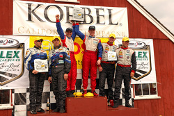 GT podium: class winners Andrew Davis and Robin Liddell, second place Tim George Jr. and Spencer Pumpely, third place Leh Keen and Eric Lux