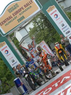 Podium: bike winner David Casteu, second place Francisco Lopez, third place Alain Duclos