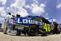 Jimmie Johnson has to go to a back up after wrecking his primary during practice