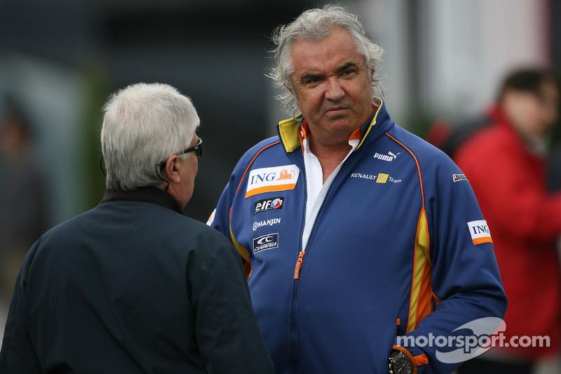 Flavio Briatore, Renault F1 Team, Team Chief, Managing Director and Herbie Blash, FIA Observer