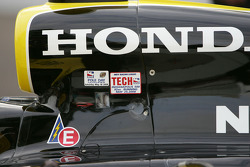 Tech and Pole Day IRL Stickers on Tomas Scheckter's car