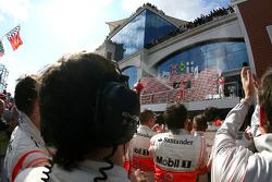 Podium: Kimi Raikkonen and Lewis Hamilton
