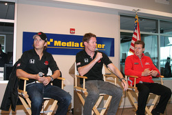 Dan Wheldon, Scott Dixon and Ryan Briscoe address the press on Sunday morning