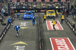 The NASCAR Sprint Pit Crew Challenge at the Time Warner Cable Arena in Charlotte: the Alltel Dodge and the DeWalt Tools Ford