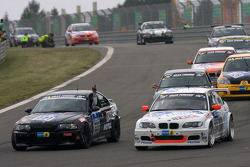 Cars leave the starting grid