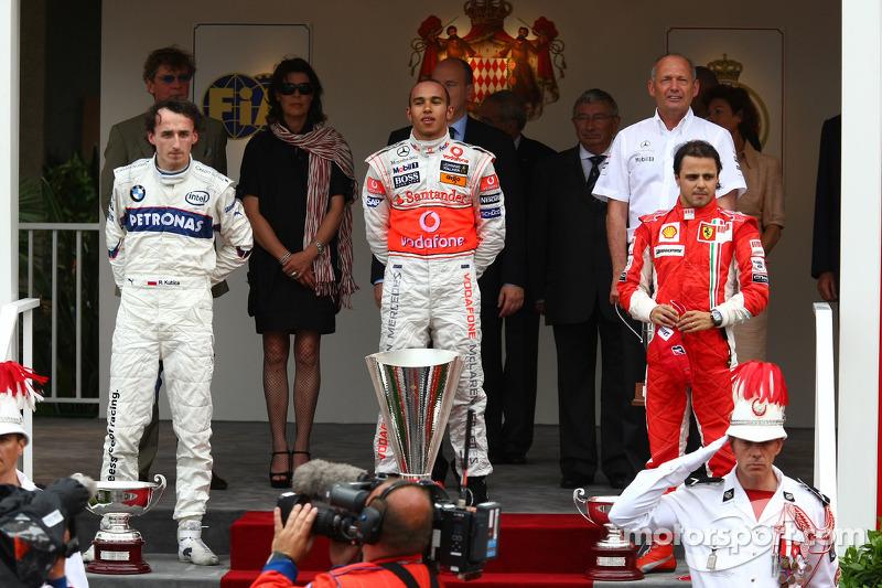 2008: 1. Lewis Hamilton, 2. Robert Kubica, 3. Felipe Massa