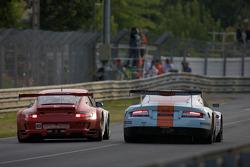 #80 Flying Lizard Motorsports Porsche 911 GT3 RSR: Jorg Bergmeister, Johannes van Overbeek, Seth Neiman, #009 Aston Martin Racing Aston Martin DBR9: David Brabham, Darren Turner, Antonio Garcia
