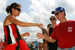 Race Fans visit the Midway Old Spice exhibit