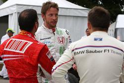 Jenson Button, Honda Racing F1 Team talks with Marc Gene, Test Driver, Scuderia Ferrari and Christian Klien, Test Driver, BMW Sauber F1 Team