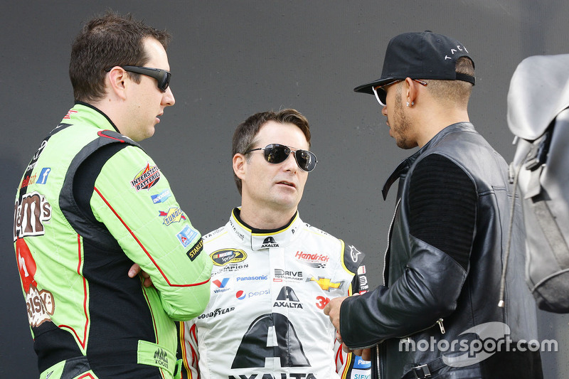 Kyle Busch, Joe Gibbs Racing Toyota; Jeff Gordon, Hendrick Motorsports Chevrolet; Lewis Hamilton, Mercedes AMG F1 Team