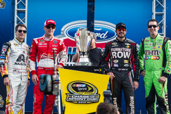 The contenders for the NASCAR Sprint Cup series 2015 championship: Jeff Gordon, Hendrick Motorsports Chevrolet, Kevin Harvick, Stewart-Haas Racing Chevrolet, Martin Truex Jr., Furniture Row Racing Chevrolet, Kyle Busch, Joe Gibbs Racing Toyota