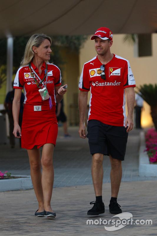 Sebastian Vettel, Ferrari met persverantwoordelijke Britta Roeske
