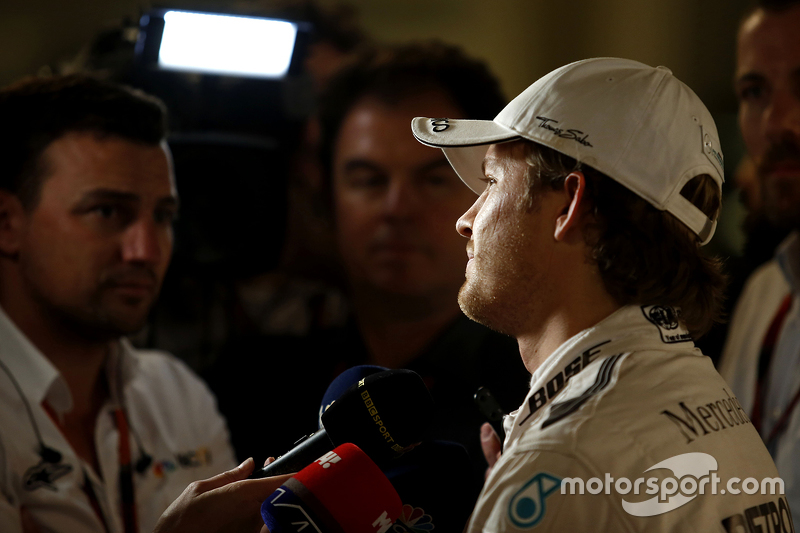 Polesitter Nico Rosberg, Mercedes AMG F1 with the media