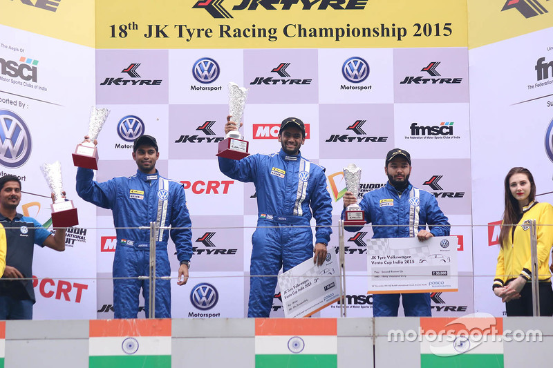 Podium: winner Sailesh Bolisetti, second place Anindith Reddy, third place Karminder Singh