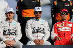 Nico Rosberg, Mercedes AMG F1 Team, Lewis Hamilton, Mercedes AMG F1 Team en Sebastian Vettel, Scuderia Ferrari
