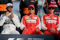 Lewis Hamilton, Mercedes AMG F1 Team, Sebastian Vettel, Scuderia Ferrari and Kimi Raikkonen, Scuderi