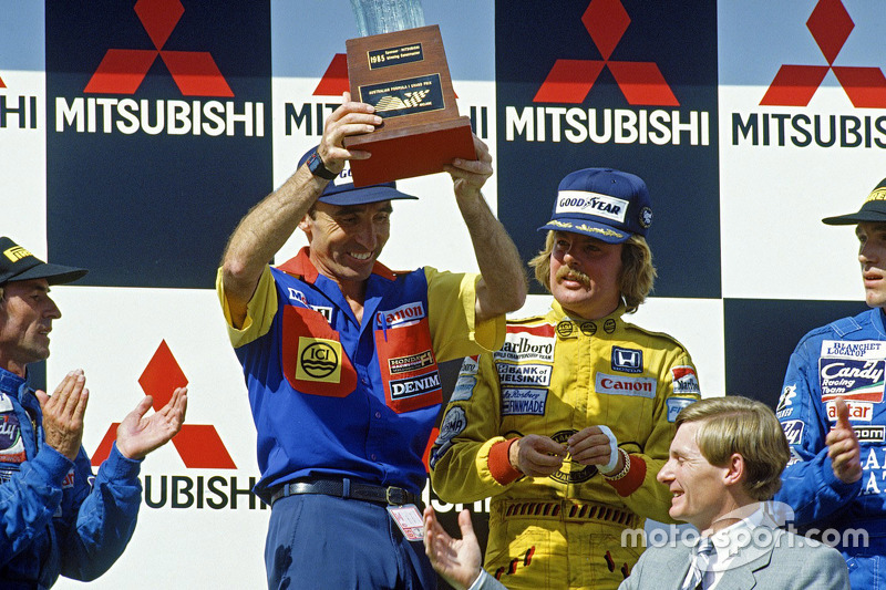 1985 (Аделаїда). Подіум: 1. Кеке Росберг, Williams Honda. 2. Жак Лаффіт, Ligier Renault. 3. Філіпп Штрайфф, Ligier Renault