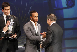 Lewis Hamilton, Mercedes AMG F1, Toto Wolff, Mercedes AMG F1 Shareholder and Executive Director and Jean Todt, FIA President
