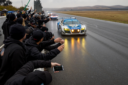 #45 Flying Lizard Motorsports, Audi R8 LMS: Darren Law, Tomonobu Fujii, Johannes van Overbeek, Guy Cosmo takes the win