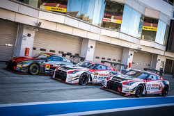 Nissan GT-R race cars lined up