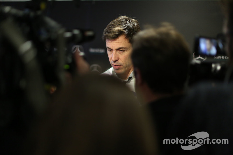 Toto Wolff, Mercedes AMG F1 Shareholder and Executive Director with the media