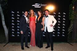 Alejandro Agag, CEO Formula E with model Alessandra Ambrosio and Nelson Piquet Jr.