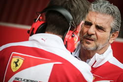 James Allison, Ferrari Chassis Technical Director with Maurizio Arrivabene, Ferrari Team Principal