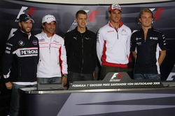 FIA press conference: Nick Heidfeld, BMW Sauber F1 Team, Timo Glock, Toyota F1 Team, Sebastian Vettel, Scuderia Toro Rosso, Adrian Sutil, Force India F1 Team and Nico Rosberg, WilliamsF1 Team, group picture