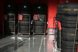 Bridgestone tyres in warmers at Scuderia Ferrari