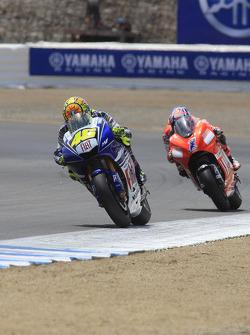 Valentino Rossi leads Casey Stoner