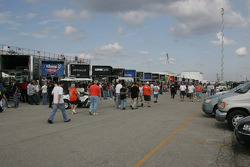 NASCAR Nationwide haulers sit in the parking lot at O'Reilly Raceway Park at Indianapolis due to limited space in the infield