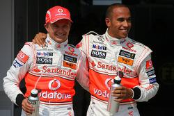 Heikki Kovalainen, McLaren Mercedes with pole position sitter Lewis Hamilton, McLaren Mercedes