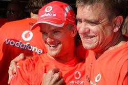 Heikki Kovalainen celebrates his first win with Ron Dennis and McLaren Mercedes team