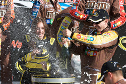 Victory lane: race winner Kyle Busch about to spray champagne